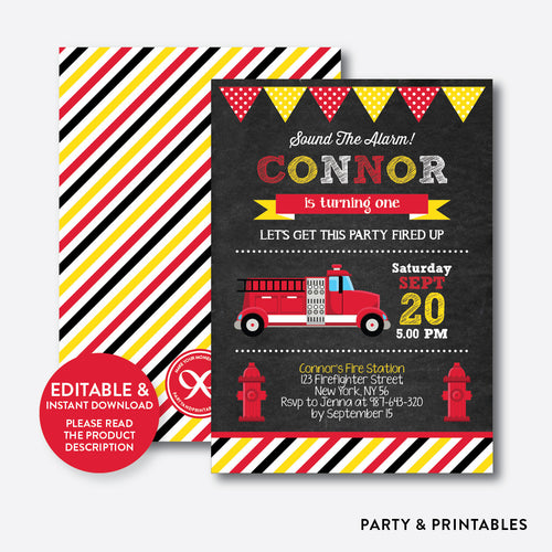 Fire Truck Chalkboard Kids Birthday Invitation / Editable / Instant Download (CKB.291B)