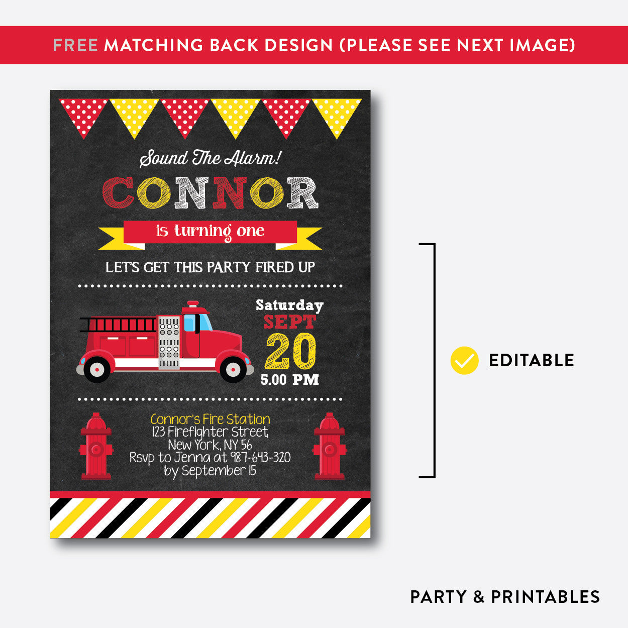 Fire Truck Chalkboard Kids Birthday Invitation / Editable / Instant Download (CKB.291B), invitation - Party and Printables