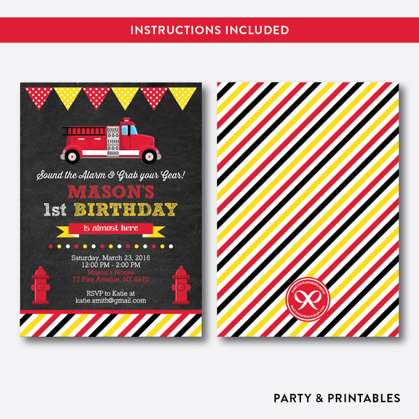 Fire Truck Chalkboard Kids Birthday Invitation / Editable / Instant Download (CKB.291), invitation - Party and Printables