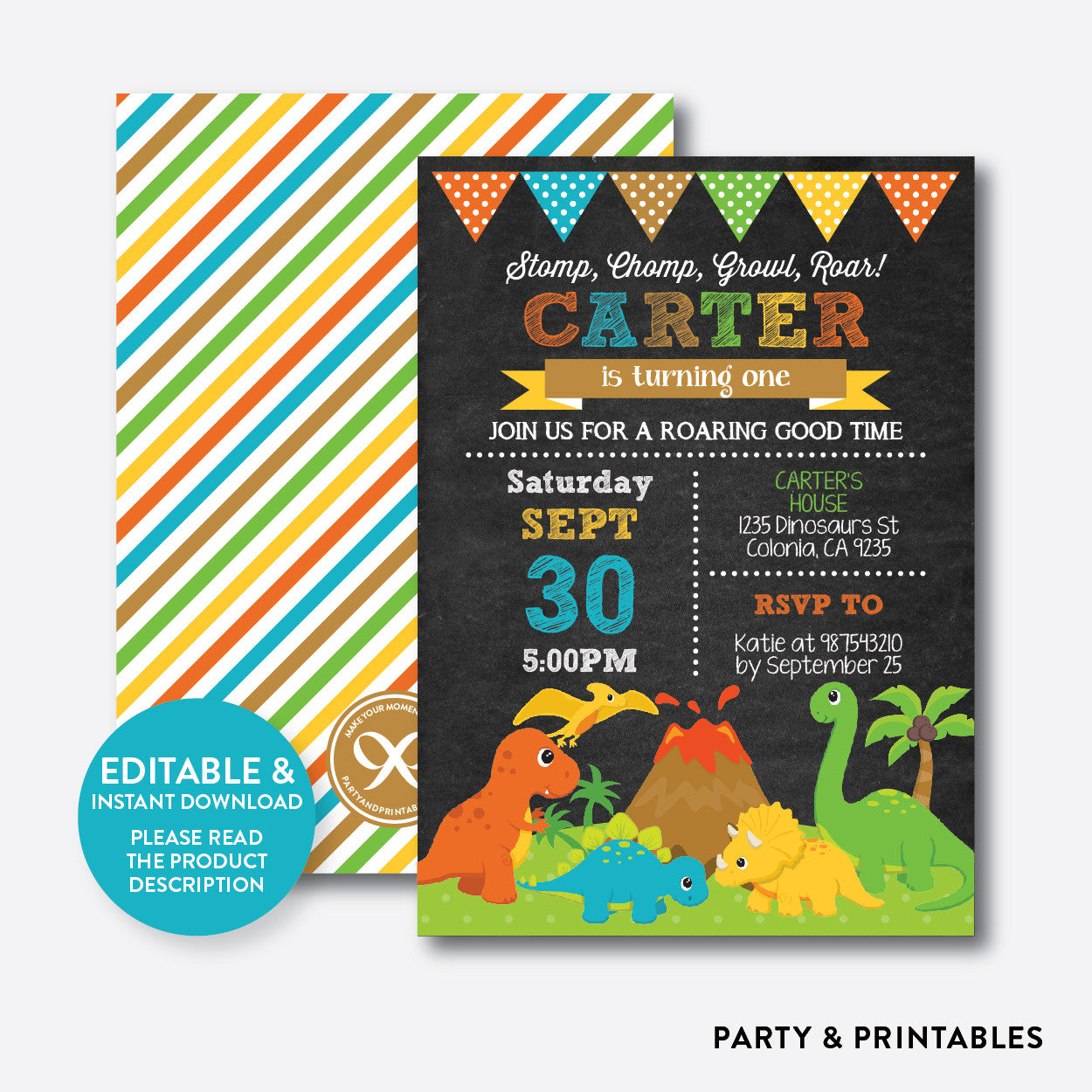 Dinosaurs Chalkboard Kids Birthday Invitation / Editable / Instant Download (CKB.295B), invitation - Party and Printables