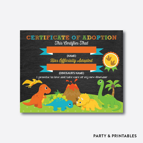 Dinosaurs Chalkboard Adoption Certificate / Non-Personalized / Instant Download (CKB.295)