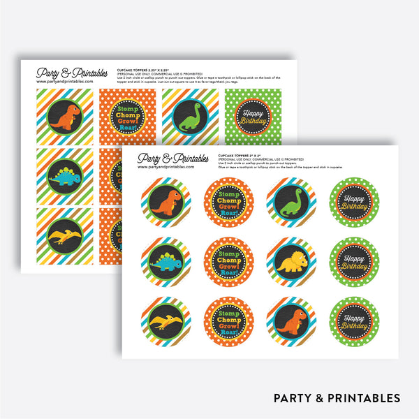 Dinosaurs Chalkboard Cupcake Toppers / Non-Personalized / Instant Download (CKB.295), party printables - Party and Printables