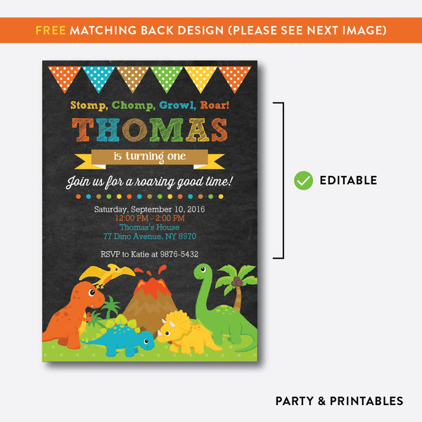 Dinosaurs Chalkboard Kids Birthday Invitation / Editable / Instant Download (CKB.295), invitation - Party and Printables