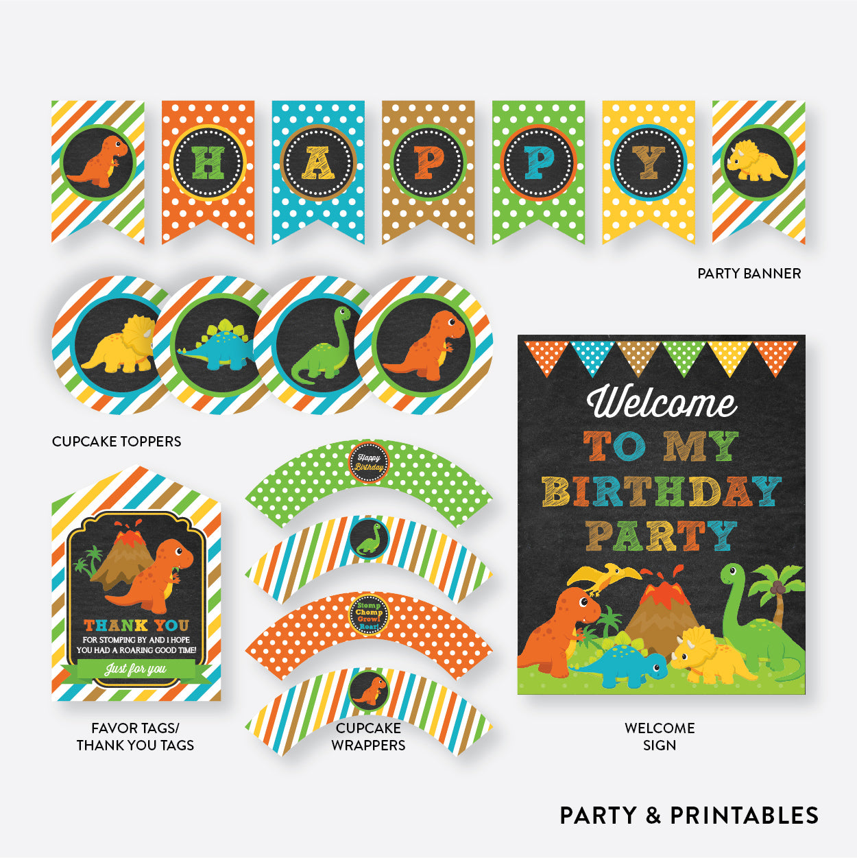 Dinosaurs Chalkboard Standard Kids Birthday Party Package / Non-Personalized / Instant Download (CKB.295), party package - Party and Printables