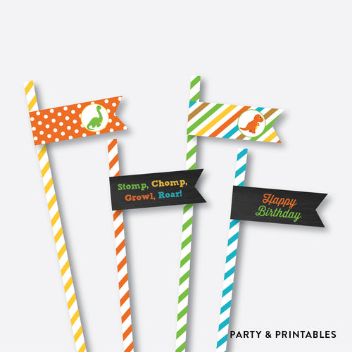 Dinosaurs Chalkboard Straw Flags / Non-Personalized / Instant Download (CKB.295)