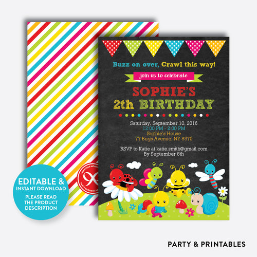 Baby Bugs Chalkboard Kids Birthday Invitation / Editable / Instant Download (CKB.308)