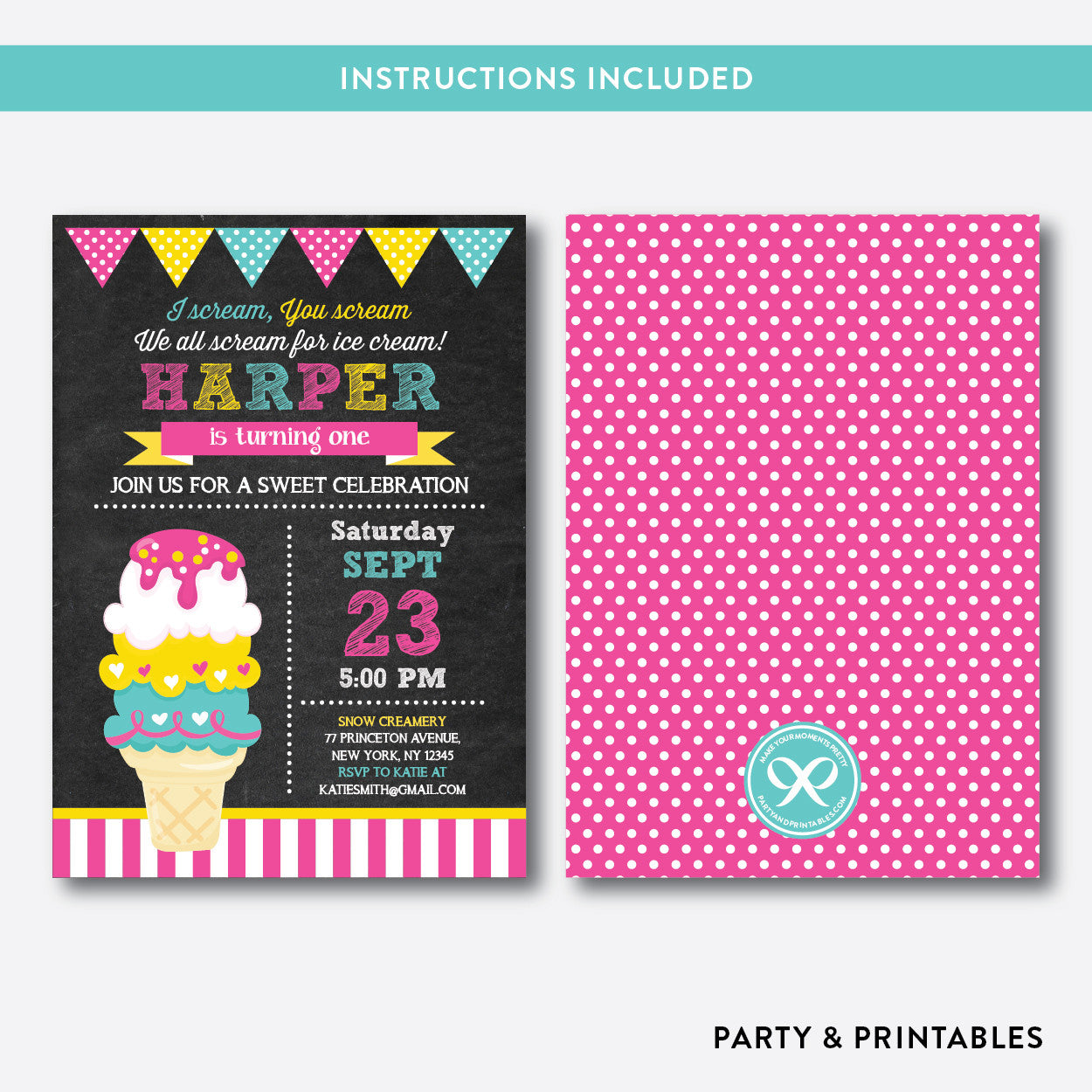 Fancy Ice Cream Chalkboard Kids Birthday Invitation / Editable / Instant Download (CKB.315), invitation - Party and Printables