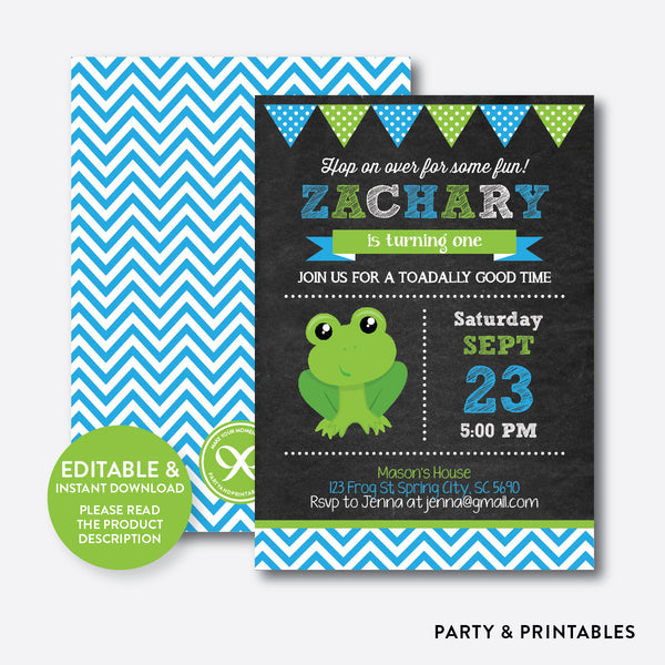 Frog Chalkboard Kids Birthday Invitation / Editable / Instant Download (CKB.316), invitation - Party and Printables