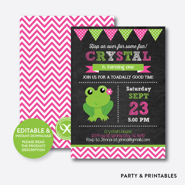 Frog Chalkboard Kids Birthday Invitation / Editable / Instant Download (CKB.317), invitation - Party and Printables