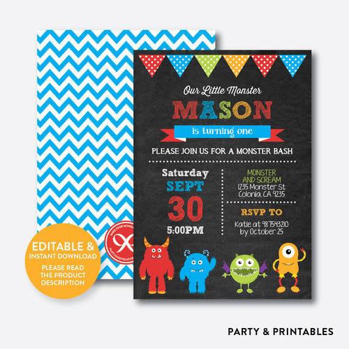 Monsters Chalkboard Kids Birthday Invitation / Editable / Instant Download (CKB.31B)