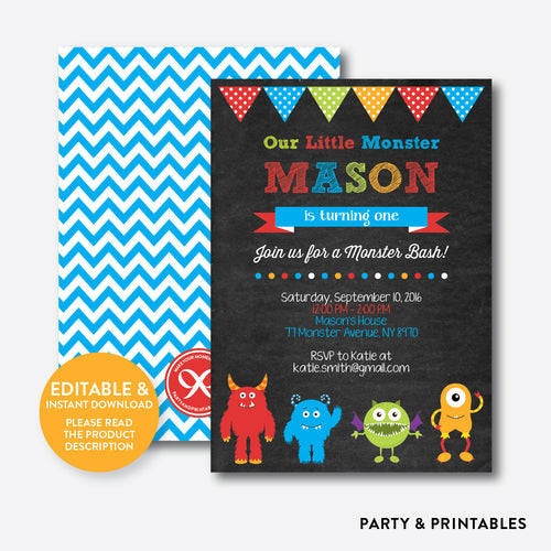 Monsters Chalkboard Kids Birthday Invitation / Editable / Instant Download (CKB.31)
