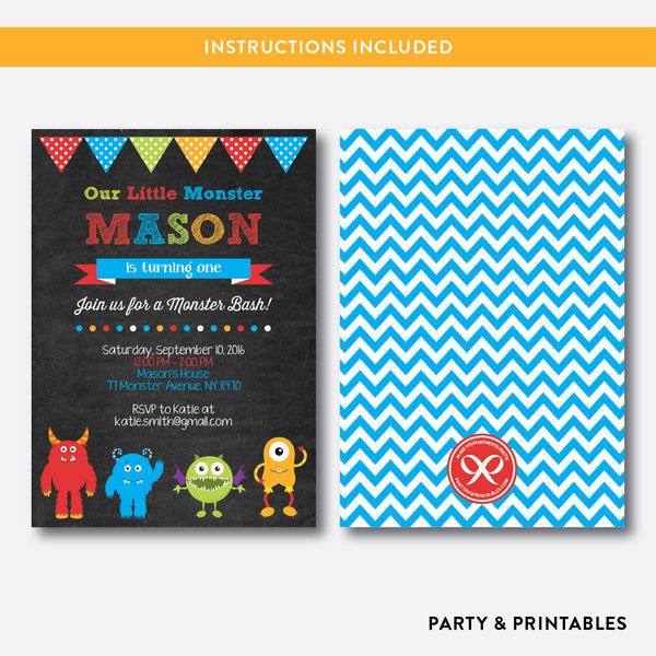 Monsters Chalkboard Kids Birthday Invitation / Editable / Instant Download (CKB.31), invitation - Party and Printables