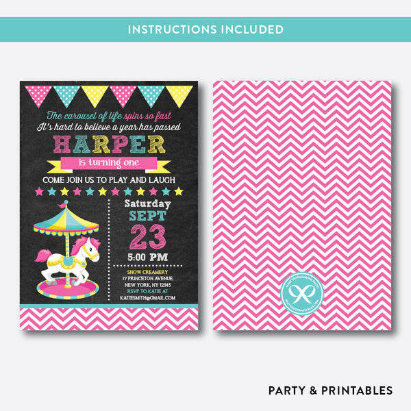 Carousel Chalkboard Kids Birthday Invitation / Editable / Instant Download (CKB.323), invitation - Party and Printables