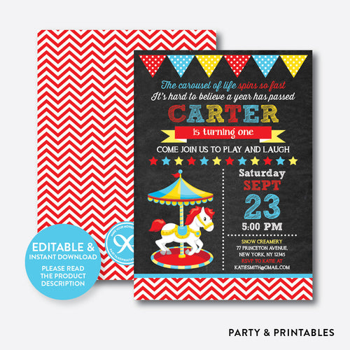 Red Carousel Chalkboard Kids Birthday Invitation / Editable / Instant Download (CKB.324)