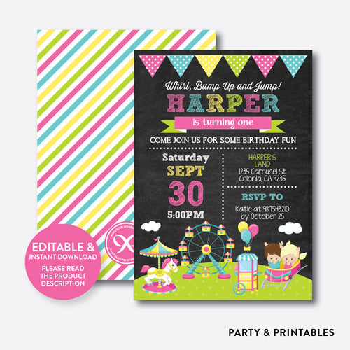 Amusement Park Chalkboard Kids Birthday Invitation / Editable / Instant Download (CKB.326)