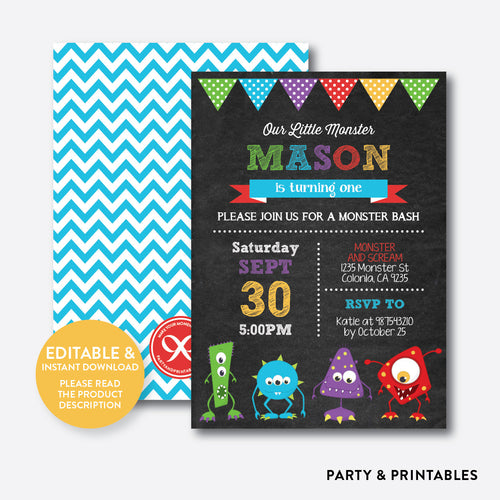 Monsters Chalkboard Kids Birthday Invitation / Editable / Instant Download (CKB.32B)