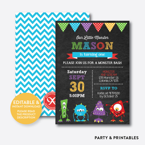 Monsters Chalkboard Kids Birthday Invitation / Editable / Instant Download (CKB.32B), invitation - Party and Printables