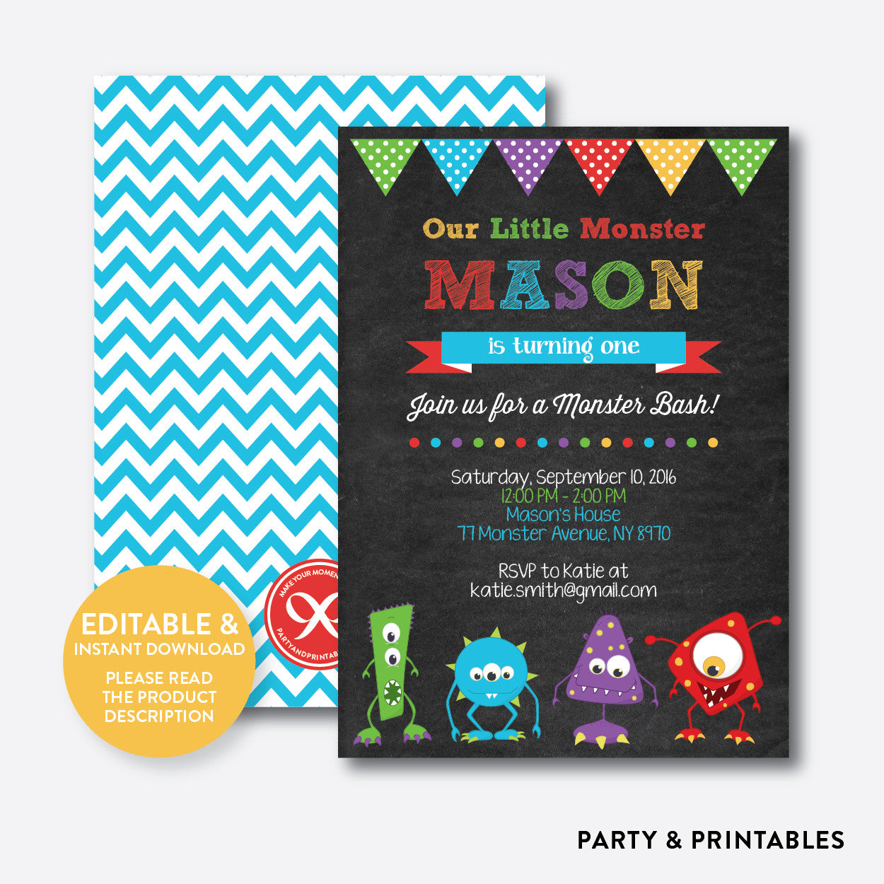 Monsters Chalkboard Kids Birthday Invitation / Editable / Instant Download (CKB.32), invitation - Party and Printables