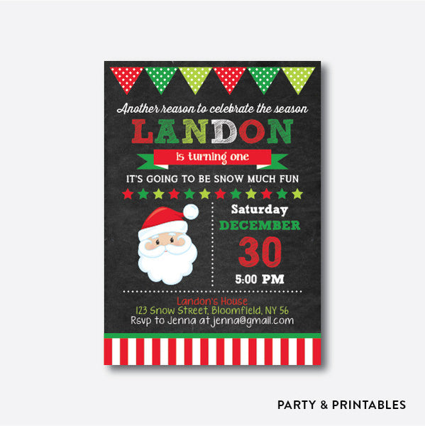 Cute Santa Chalkboard Kids Birthday Invitation / Personalized (CKB.332), invitation - Party and Printables