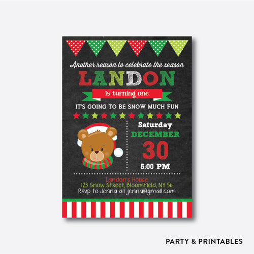 Cute Christmas Bear Chalkboard Kids Birthday Invitation / Personalized (CKB.334)