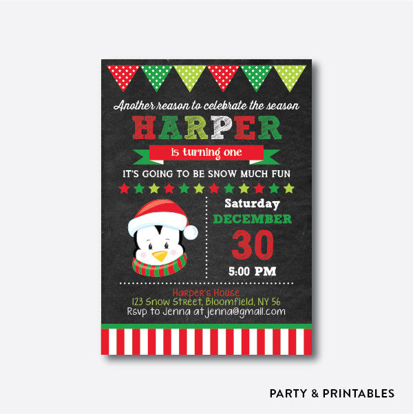 Cute Christmas Penguin Chalkboard Kids Birthday Invitation / Personalized (CKB.335), invitation - Party and Printables