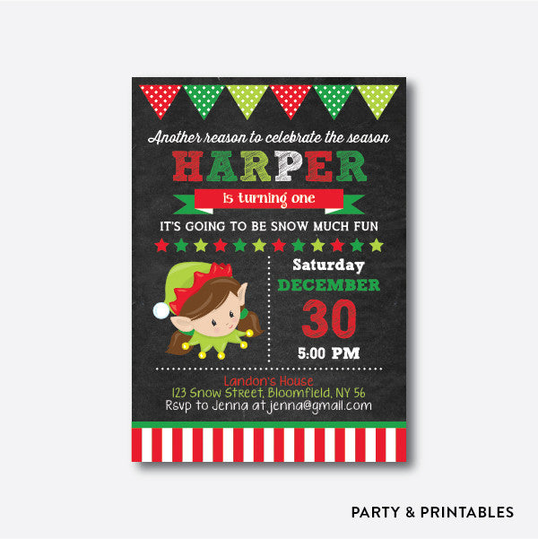 Cute Christmas Elf Girl Chalkboard Kids Birthday Invitation / Personalized (CKB.336), invitation - Party and Printables