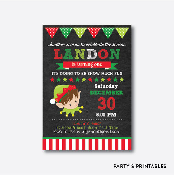 Cute Christmas Elf Boy Chalkboard Kids Birthday Invitation / Personalized (CKB.337), invitation - Party and Printables