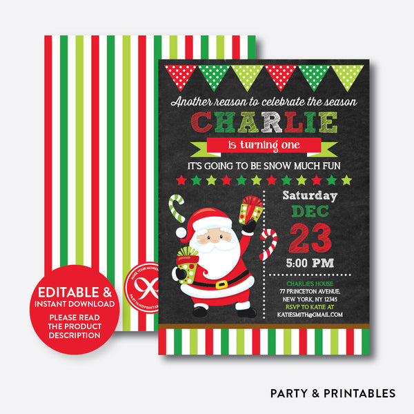 Christmas Santa Chalkboard Kids Birthday Invitation / Editable / Instant Download (CKB.338), invitation - Party and Printables