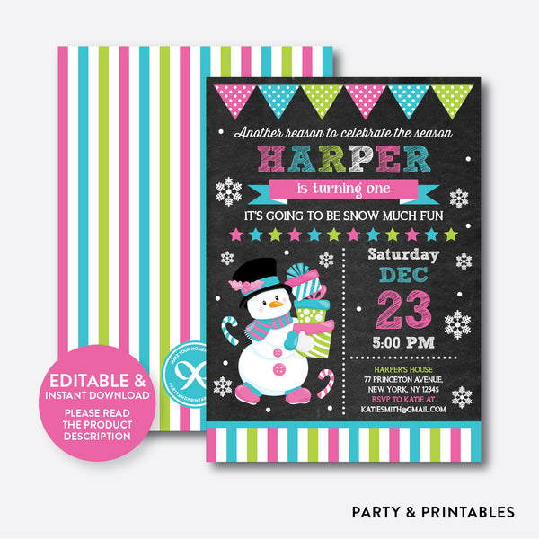 Christmas Snowman Chalkboard Kids Birthday Invitation / Editable / Instant Download (CKB.339), invitation - Party and Printables