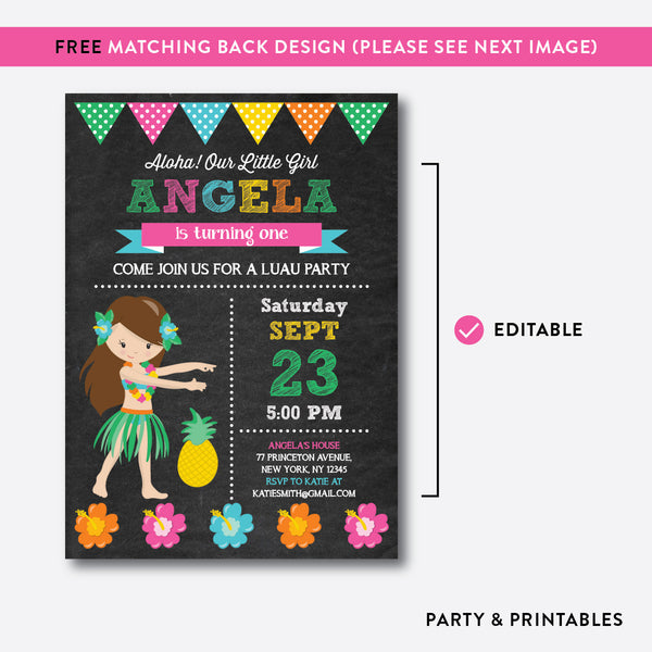 Luau Chalkboard Kids Birthday Invitation / Editable / Instant Download (CKB.33C)