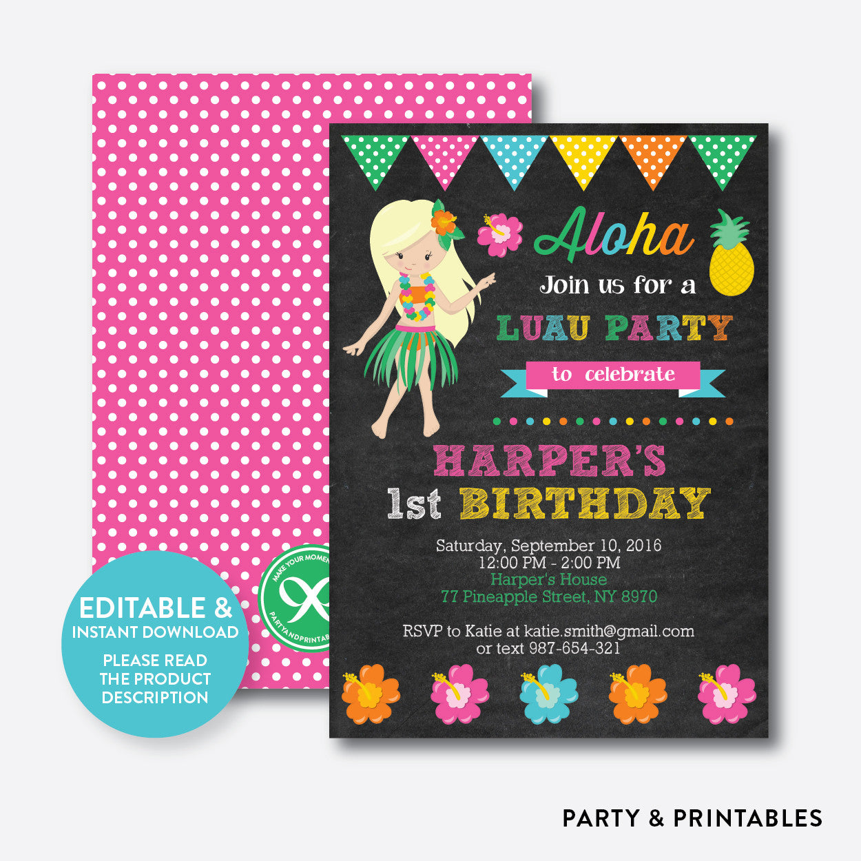 Luau Chalkboard Kids Birthday Invitation / Editable / Instant Download (CKB.34B)