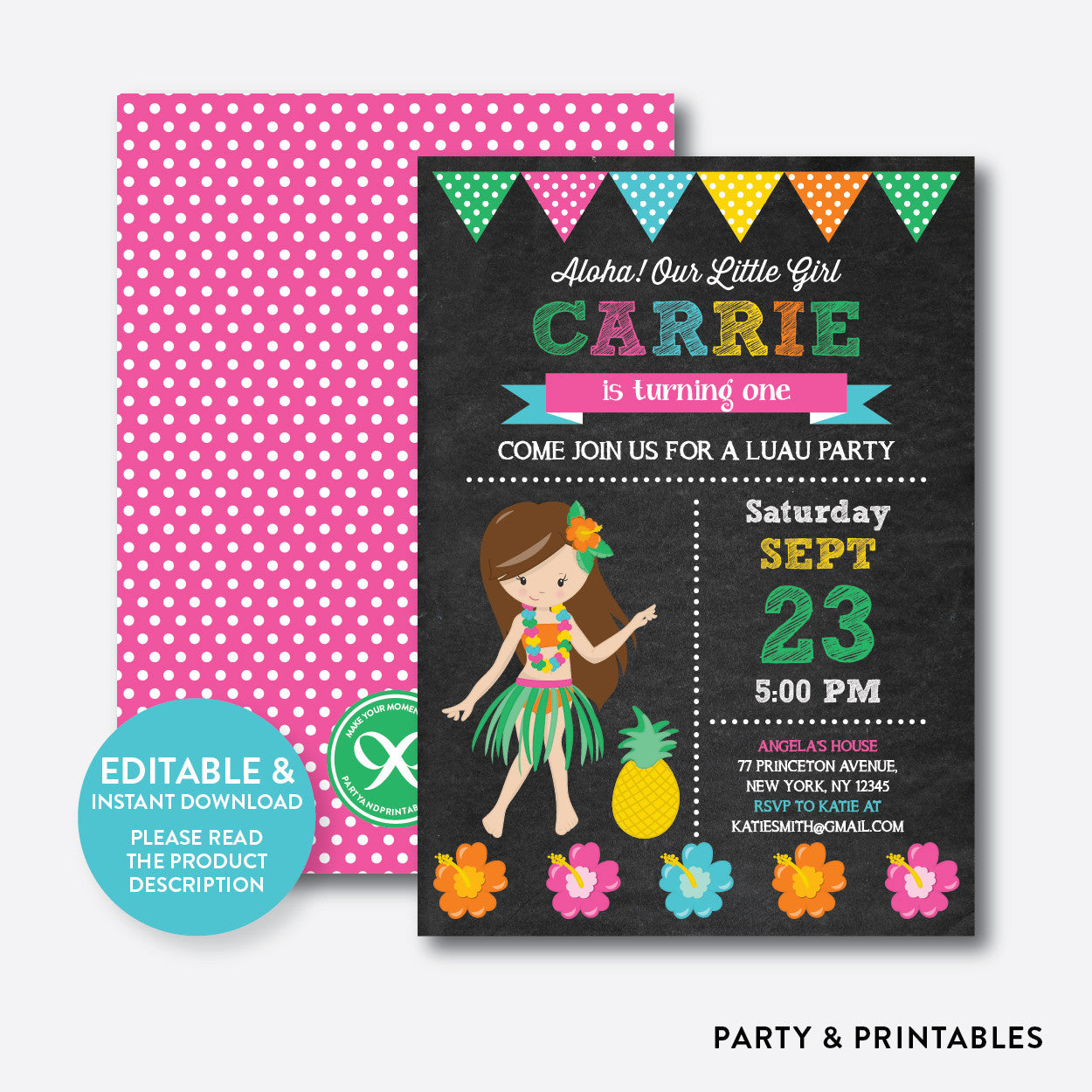 Luau Chalkboard Kids Birthday Invitation / Editable / Instant Download (CKB.34C)