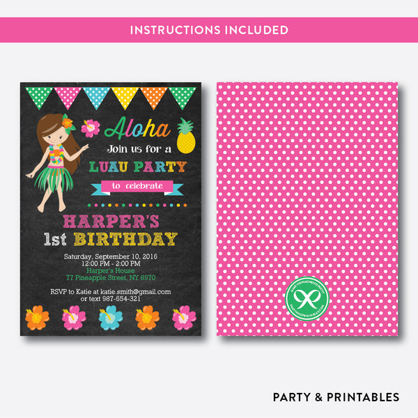 Luau Chalkboard Kids Birthday Invitation / Editable / Instant Download (CKB.34)