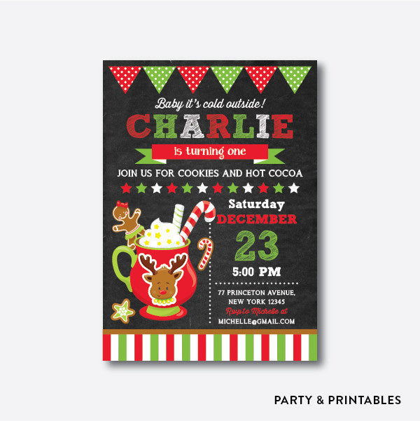 Cookies and Hot Cocoa Reindeer Chalkboard Kids Birthday Invitation / Personalized (CKB.352)