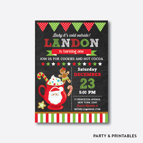 Cookies and Hot Cocoa Santa Claus Chalkboard Kids Birthday Invitation / Personalized (CKB.353), invitation - Party and Printables