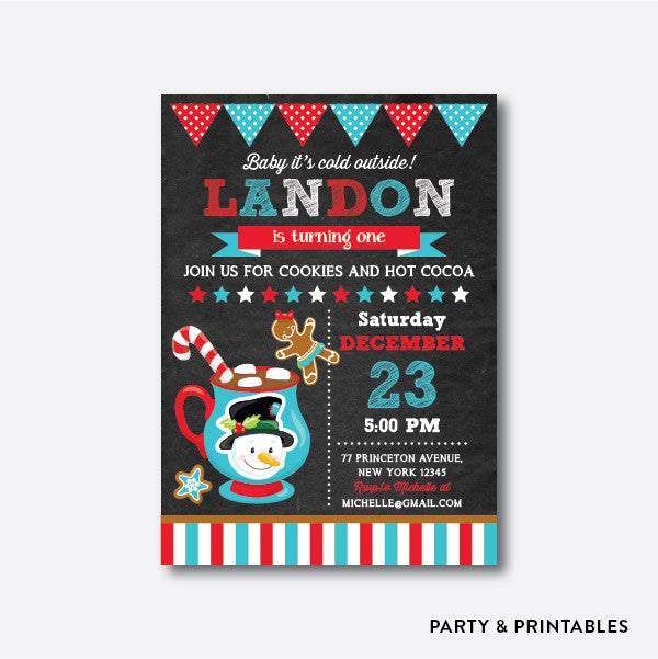 Cookies and Hot Cocoa Snowman Chalkboard Kids Birthday Invitation / Personalized (CKB.355), invitation - Party and Printables