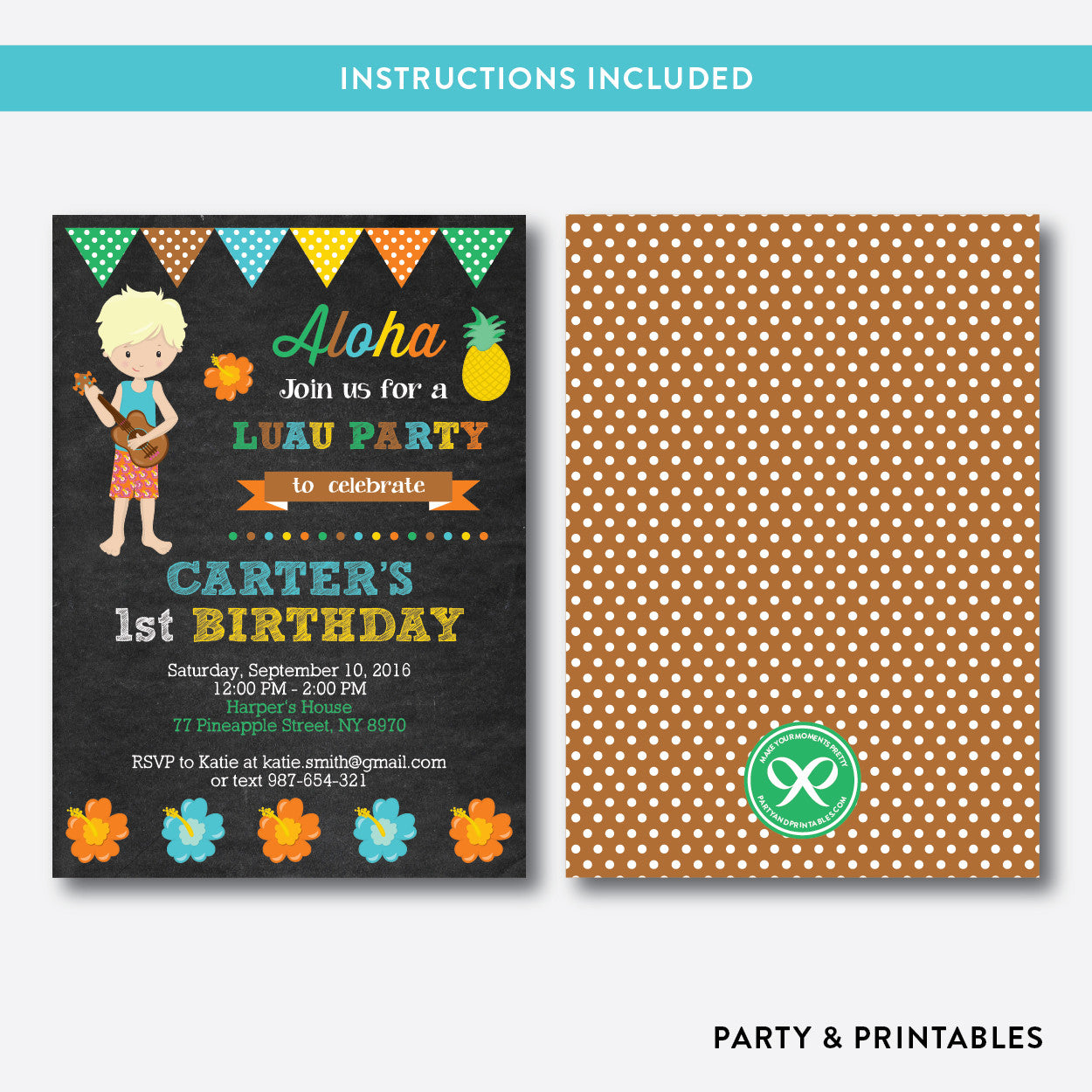 Luau Chalkboard Kids Birthday Invitation / Editable / Instant Download (CKB.35B)