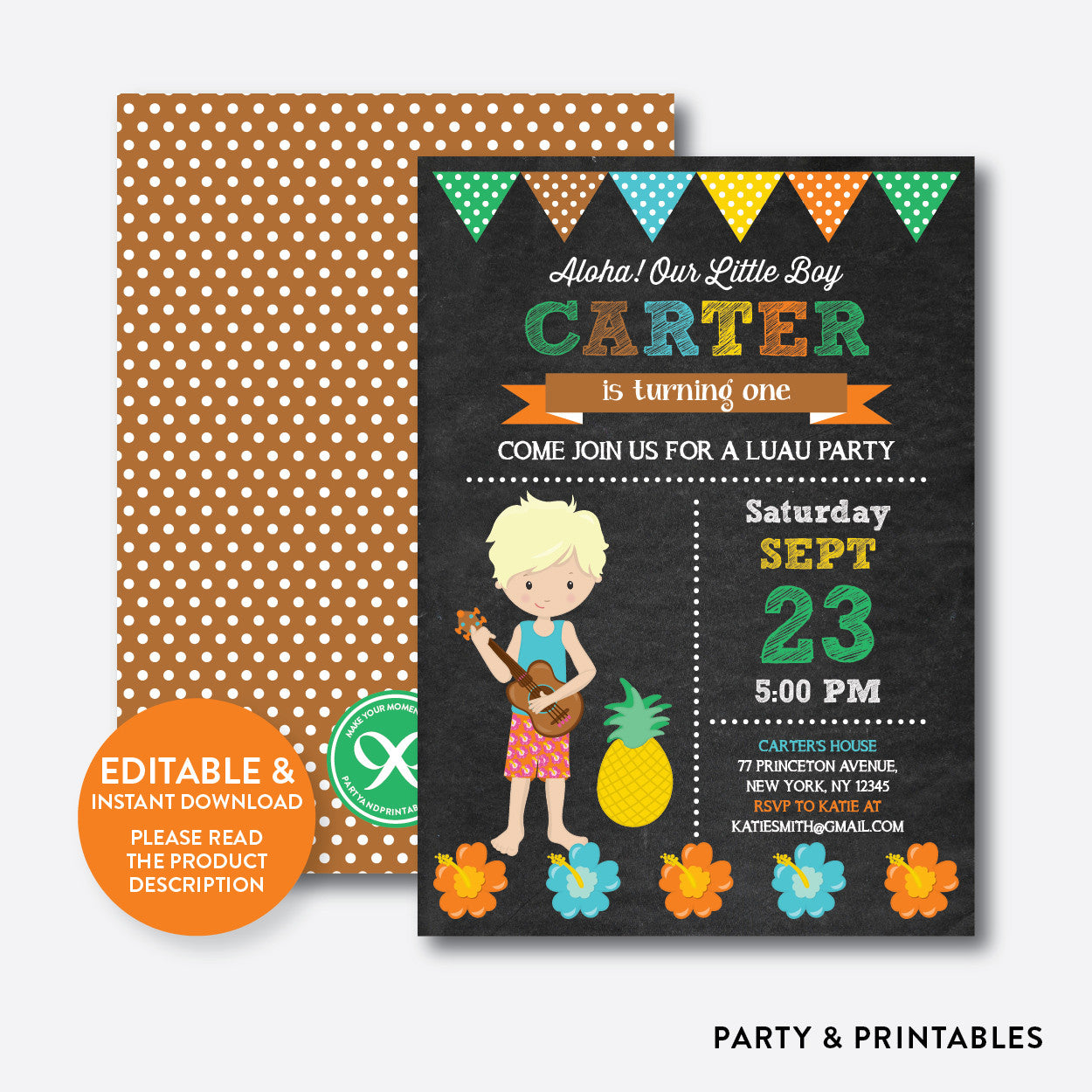 Luau Chalkboard Kids Birthday Invitation Editable Instant Download Party And Printables