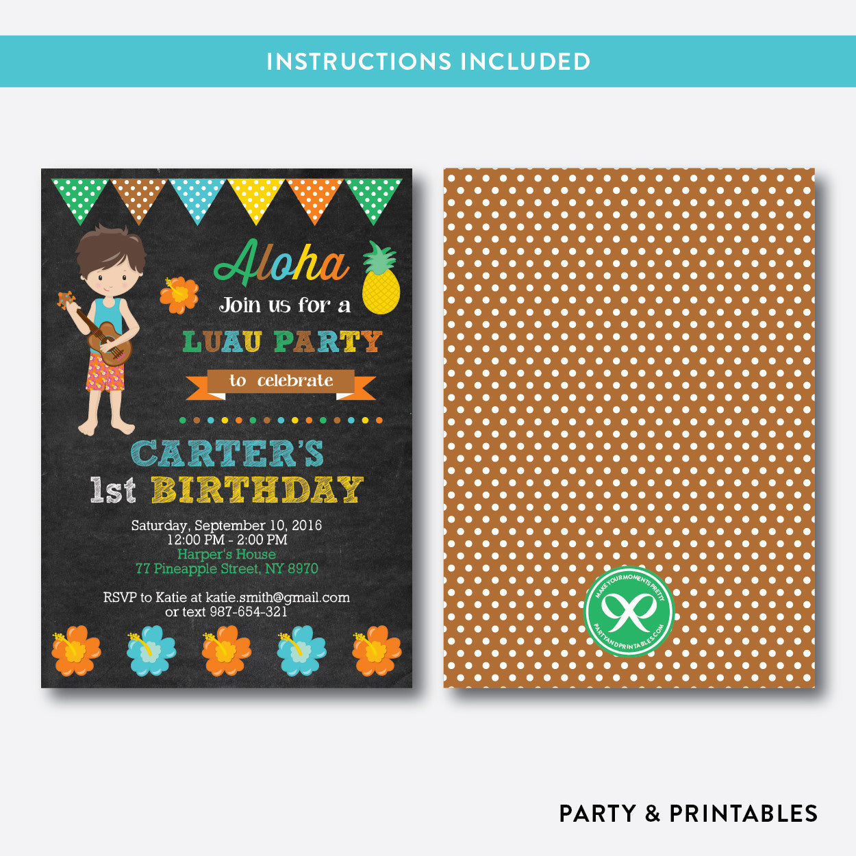 Luau Boy Chalkboard Kids Birthday Invitation / Editable / Instant Download (CKB.35)