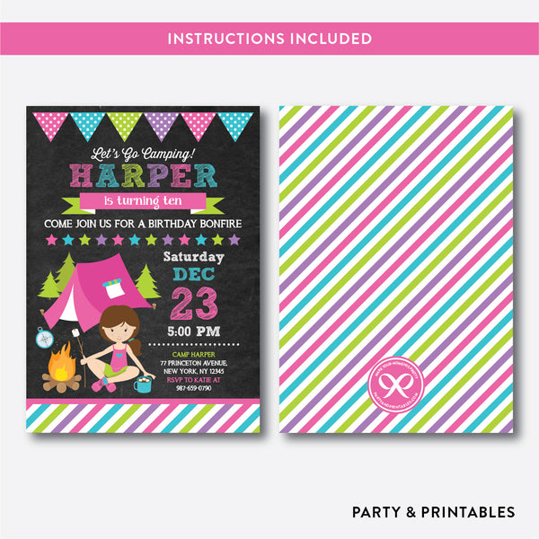 Camping Chalkboard Kids Birthday Invitation / Editable / Instant Download (CKB.367), invitation - Party and Printables