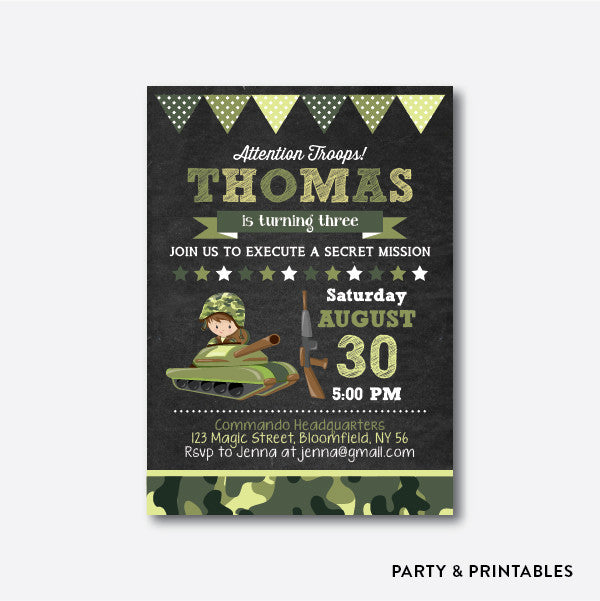 Army Chalkboard Kids Birthday Invitation / Personalized (CKB.369), invitation - Party and Printables