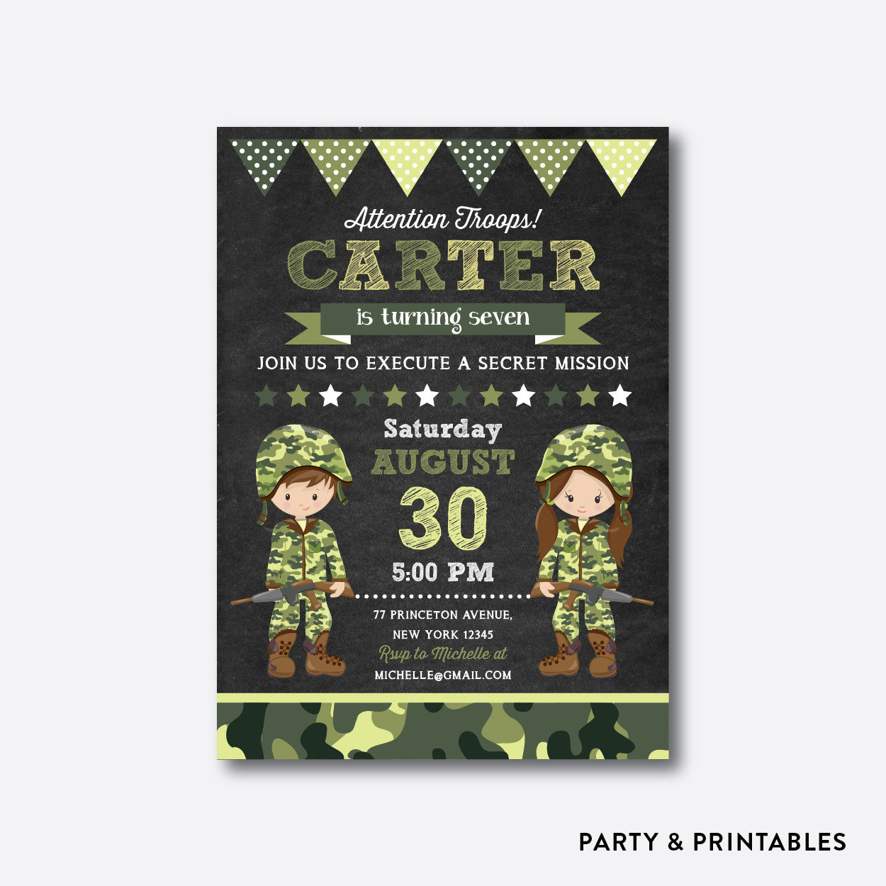 Army Chalkboard Kids Birthday Invitation Personalized CKB370