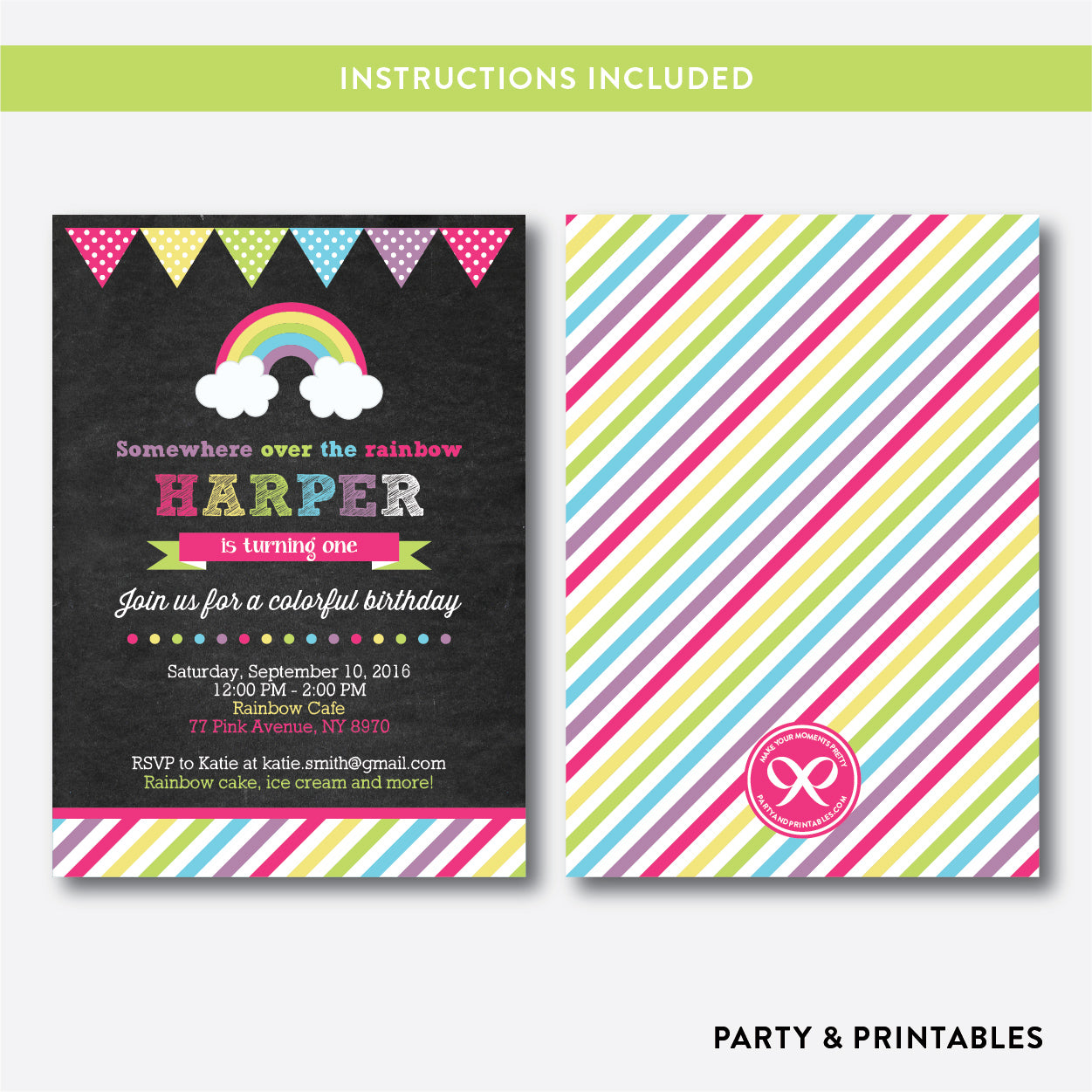 Rainbow Chalkboard Kids Birthday Invitation / Editable / Instant Download (CKB.37), invitation - Party and Printables