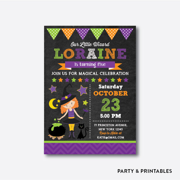 Tweeny Witch Chalkboard Kids Birthday Invitation / Personalized (CKB.383), invitation - Party and Printables