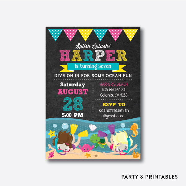 Ocean Fun Girl Chalkboard Kids Birthday Invitation / Personalized (CKB.386), invitation - Party and Printables