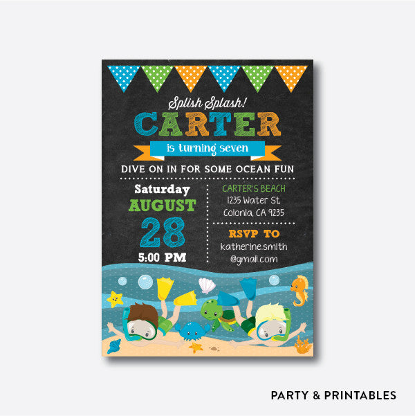 Ocean Fun Boy Chalkboard Kids Birthday Invitation / Personalized (CKB.387), invitation - Party and Printables