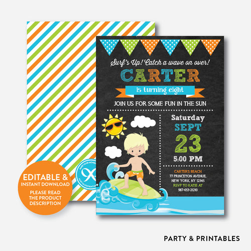 Surfing Chalkboard Kids Birthday Invitation / Editable / Instant Download (CKB.388B)