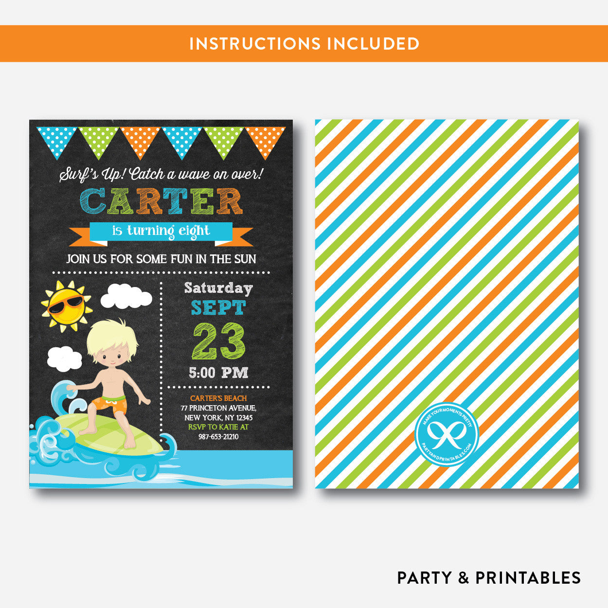 Surfing Chalkboard Kids Birthday Invitation / Editable / Instant Download (CKB.388B), invitation - Party and Printables
