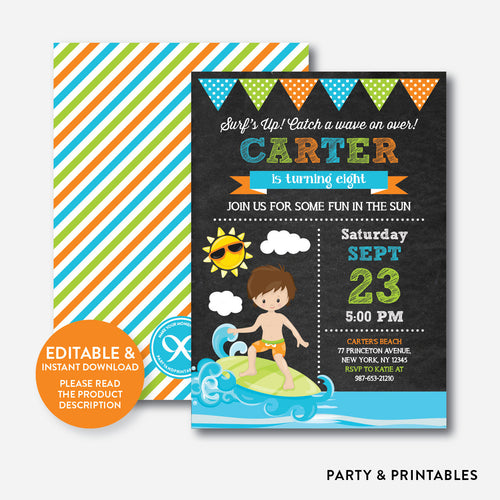 Surfing Chalkboard Kids Birthday Invitation / Editable / Instant Download (CKB.388)