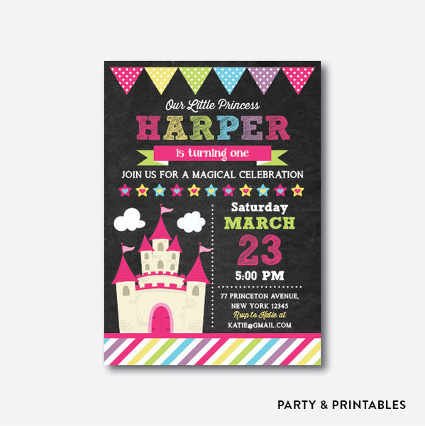 Castle Chalkboard Kids Birthday Invitation / Personalized (CKB.38), invitation - Party and Printables